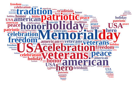 Illustration with word cloud about Memorial day. Stockfoto