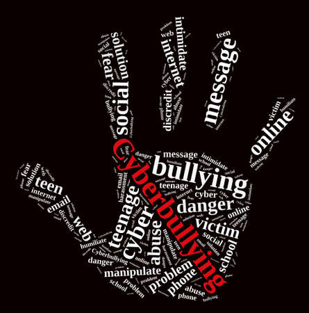 bully: Illustration with word cloud on cyberbullying.