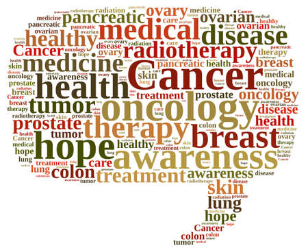 pancreatic cancer: Illustration with word cloud about different types of cancer.
