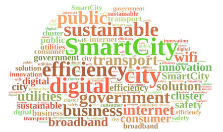 Illustration with word cloud about smart city