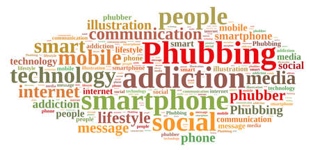 addicted: Illustration with word cloud on phubbing, the addiction to mobile Stock Photo