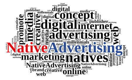 advertising: Illustration with word cloud on native advertising Stock Photo