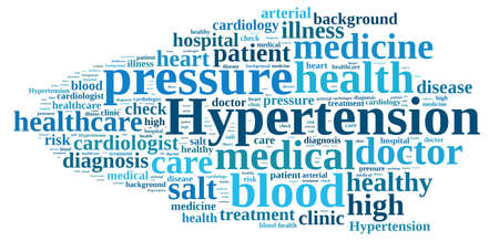 hypertension: Illustration with word cloud about hypertension Stock Photo