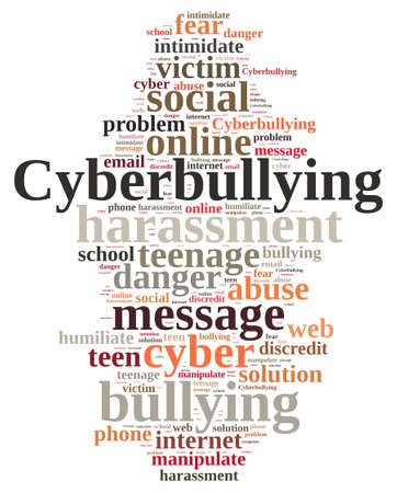 falsely: Illustration with word cloud on cyberbullying.