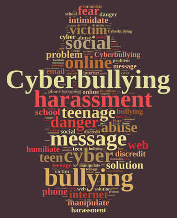 harass: Illustration with word cloud on cyberbullying.