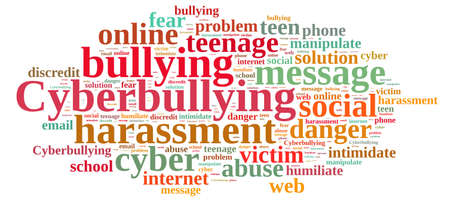 Illustration with word cloud on cyberbullying.