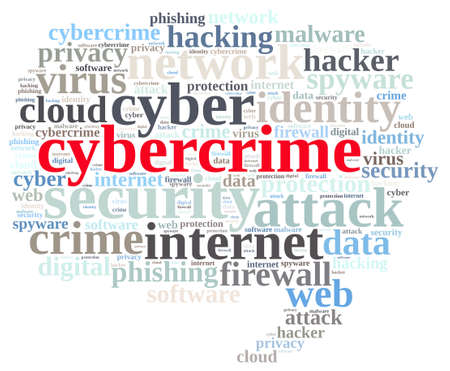 word: Word cloud illustration which deals with cybercrime. Stock Photo