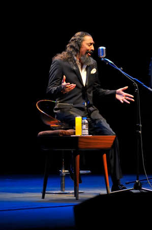 GIJON SPAIN  MAY 30: Legendary flamenco singer Diego el Cigala performs at the Theatre La Laboral in May 30 2015 in Gijon Spain. Special intimate live show to launch his new record