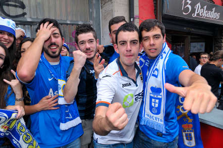 liga: OVIEDO SPAIN  MAY 31: Fans of Real Oviedo celebrate the rise to Liga Adelante of Spanish Football League after winning 01 against Cdiz CF in May 31 2015 in Oviedo Spain.