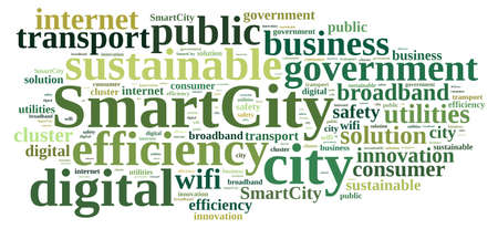 public sector: Illustration with word cloud about smart city