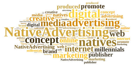publisher: Illustration with word cloud on native advertising Stock Photo