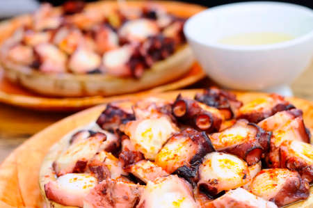 Octopus prepared Galician style, Pulpo a feira. Stockfoto