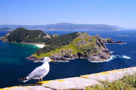 Îles Cies Parc national MaritimeTerrestrial des îles de l'Atlantique de la Galice en Espagne.