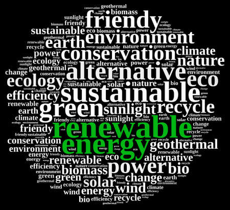 biomass: Word cloud illustration on renewable energy. Stock Photo