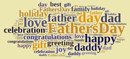 Illustration with word cloud about  Fathers Day. Stock Photo