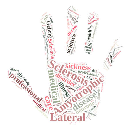 An illustration with word cloud about Amyotrophic lateral sclerosis.