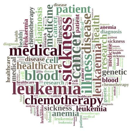 leucemia: Una ilustración con nube de palabras sobre la leucemia.
