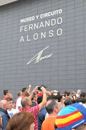 f1: ASTURIAS, SPAIN - JUNE 26: Inauguration museum of F1 driver Fernando Alonso in June 26, 2015 in Asturias, Spain. Fans waiting for the opening of the museum F1 driver Fernando Alonso in Asturias.