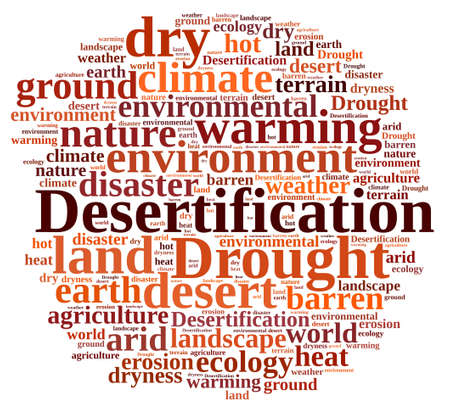 desertification: An illustration with word cloud about desertification Stock Photo