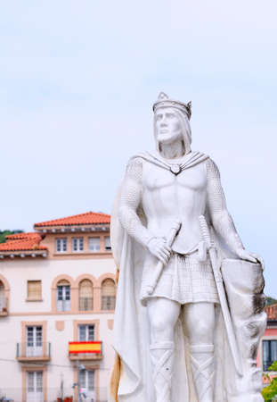 silo: Statue of King Silo in Pravia. King of Asturias between 774 and 783 Stock Photo
