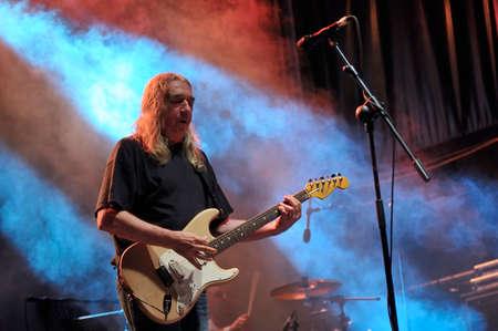composers: GIJON, SPAIN - JUNE 30: Spanish rock singer Rosendo with more than 40 years on stage in June 30, 2015 in Gijon, Spain. Concert in Metropoli Festival in Gijon, Spain. Editorial
