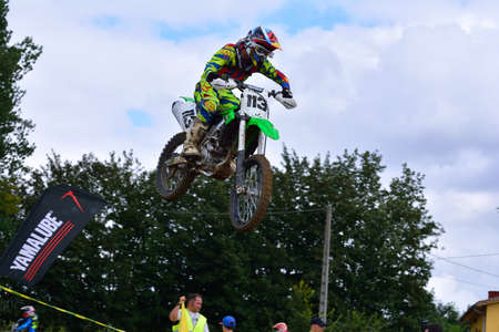 pablo: VALDESOTO, SPAIN - AUGUST 8: Asturias Motocross Championship in August 8, 2015 in Valdesoto, Spain. Pablo Valle rider with the number 113. Editorial