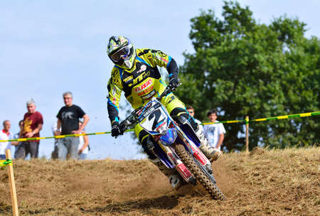 SARIEGO, SPAIN - AUGUST 17: Legendary Sariego motocross test in August 17, 2015 in Sariego, Spain. Alvaro Lozano rider with the number 2