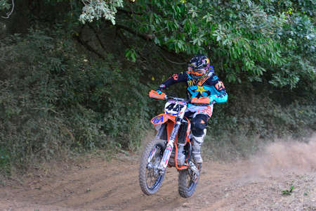 cros: SARIEGO, SPAIN - AUGUST 17: Legendary Sariego motocross test in August 17, 2015 in Sariego, Spain. Joan Cros rider with the number 48 Editorial