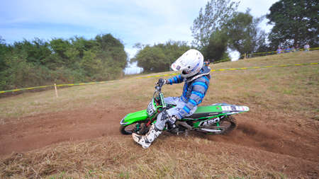 pierre: SARIEGO, SPAIN - AUGUST 17: Legendary Sariego motocross test in August 17, 2015 in Sariego, Spain. Pierre Lozzi rider with the number 420.
