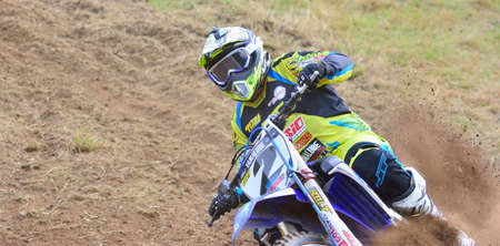 alvaro: SARIEGO, SPAIN - AUGUST 17: Legendary Sariego motocross test in August 17, 2015 in Sariego, Spain. Alvaro Lozano rider with the number 2