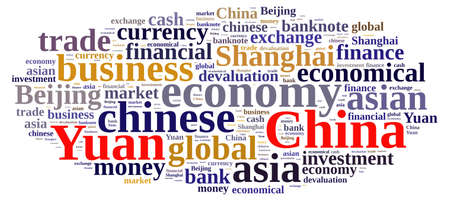yuan: Illustration with word cloud on the Chinese currency Yuan