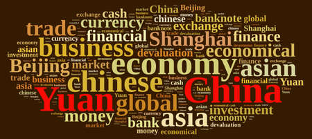 china business: Illustration with word cloud on the Chinese currency Yuan
