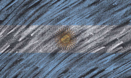 bandera de argentina: Argentina flag painted with chalk on a blackboard. Foto de archivo