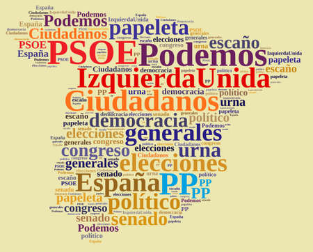mariano: Ilustraccion with word cloud on the elections in Spain.