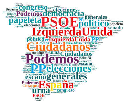 rajoy: Ilustraccion with word cloud on the elections in Spain.