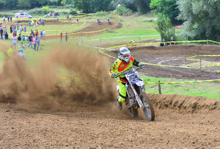 number 15: VALDESOTO, SPAIN - AUGUST 8: Asturias Motocross Championship in August 8, 2015 in Valdesoto, Spain. Marce Menendez rider with the number 15