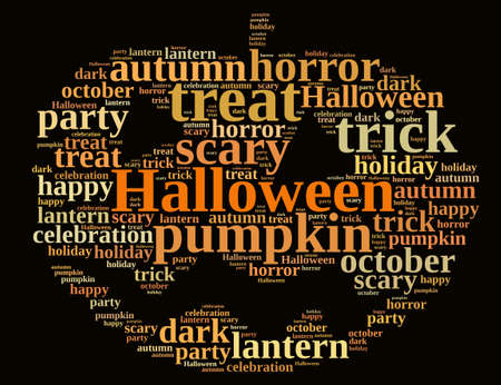 halloween background: An illustration with word cloud on Halloween.