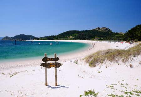 Cies-eilanden, Nationaal Park Maritime-Terrestrial van de Atlantische eilanden van Galicië in Spanje. Stockfoto - 47982932