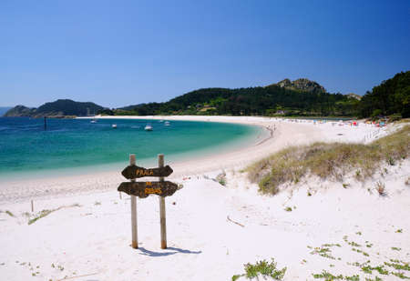 Cies Islands, National Park Maritime-Terrestrial of the Atlantic Islands of Galicia in Spain. Stock Photo