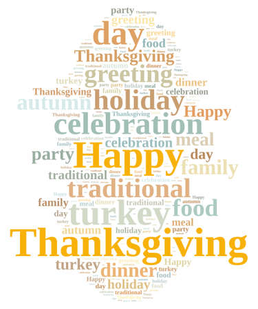 thanksgiving day greetings: Illustration with word cloud on Thanksgiving.
