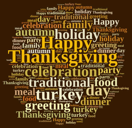 happy days: Illustration with word cloud on Thanksgiving.