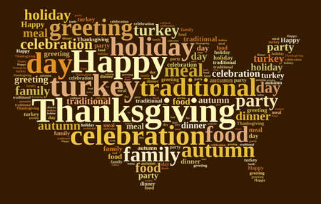 happy holidays: Illustration with word cloud on Thanksgiving.