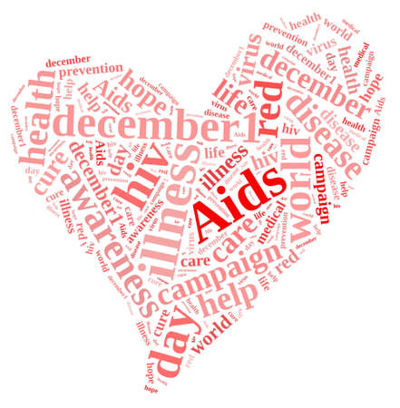 Illustration with word cloud on International AIDS Day.