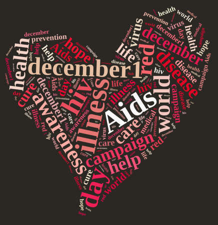 virus: Illustration with word cloud on International AIDS Day.
