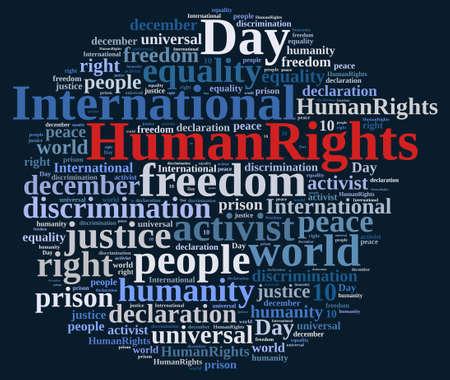 derechos humanos: Ilustración de la nube de Word con el Día Internacional de los Derechos Humanos.