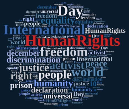 human: Word cloud illustration with International Human Rights Day. Stock Photo