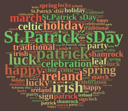 st patricks party: Illustration with word cloud on St. Patricks Day.