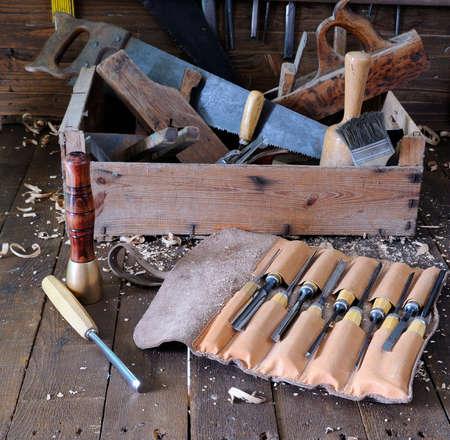garage: Different tools on wooden floor in garage