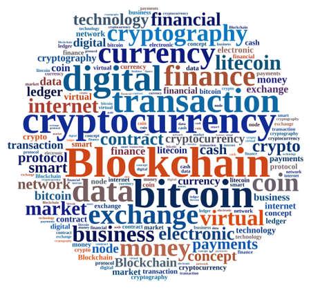 Illustration with word cloud with the word Blockchain. Zdjęcie Seryjne