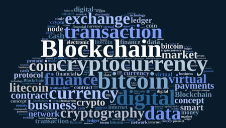 ledger: Illustration with word cloud with the word Blockchain. Stock Photo